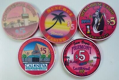 $5 Casino Chips - FREMONT Las Vegas, CAL-NEVA, Opera House,Continental- LOT of 5