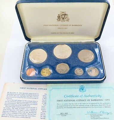 1973 Barbados 8 Coin Proof Set. Franklin Mint.