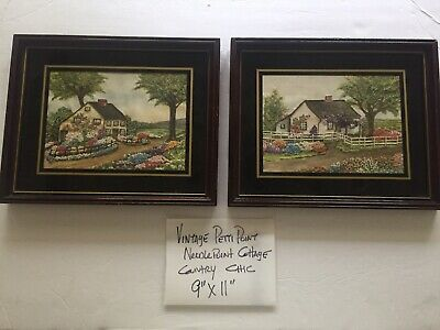 """2 Vintage petit point Needlepoint """"Country Cottage With Flowers""""Framed Art"""