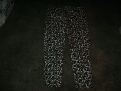 New Emaline Black & White Designed Pull on Pants/w Zippered Pockets Size W 16