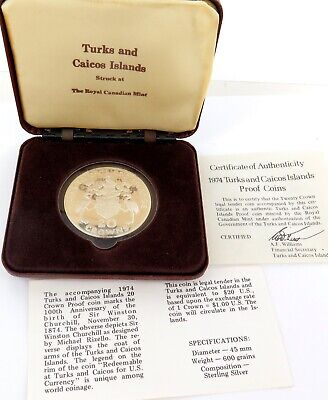 1974 TURKS and CAICOS ISLANDS PROOF STERLING SILVER 20 CROWNS.