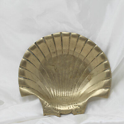 Vtg Solid Brass Clam Shell Trinket Dish Seahorse Nautical Beach Soap Catchall
