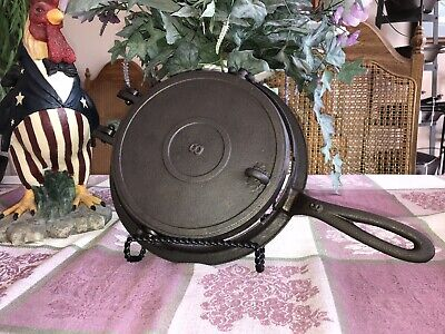 Antique Cast Iron Flop Waffle Iron, Lodge? Cleaned & Well Seasoned