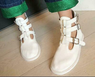 Womens Ladies Fashion Leather Soft Buckle Straps Ankle Martin Boots Shoes DDDD