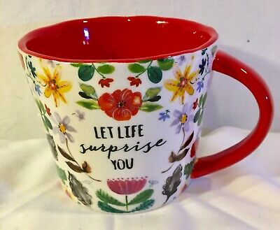 Tag Coffee Mug Large Floral Chinz Coffee Cup Let Life Surprise You