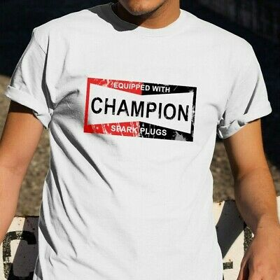 CHAMPION SPARK PLUGS 'T' T-shirt Decal Signs Motor Oil Gas