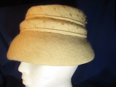 "VINTAGE LADIES BEIGE OFF WHITE WOOL BUCKET MUSHROOM HAT-NET TRIM-22""-1950s"
