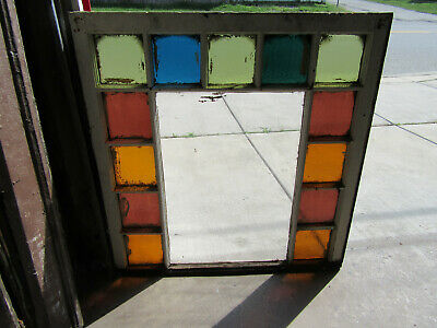 ~ Antique Queen Anne Style Stained Glass Window 2 Of 2 ~ 34 X 35 ~ Salvage