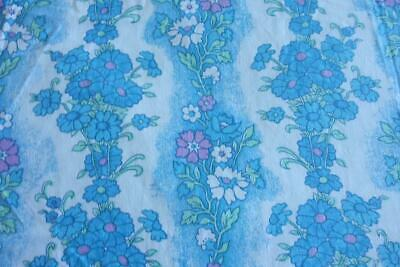 Retro 70's Floral Vintage Double Bed Cotton Sheet Fabric 240cm x 210cm