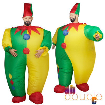Halloween Inflatable Adult Clown Fancy Dress Joker Suit Outfit Party Costume New