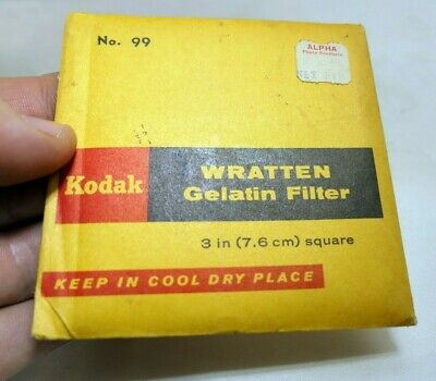 "KODAK Wratten Gelatin Lens Filter 3X3"" square 99 Green"