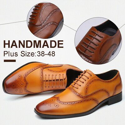 Men Leather Shoes Brogues Casual Formal Dress Wedding Smart Lace Up Oxfords Gift