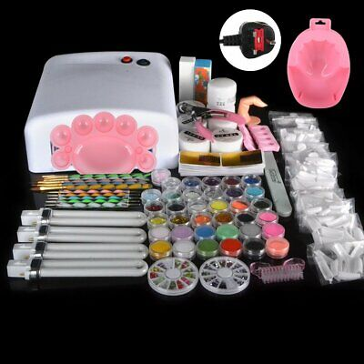 36w lamp light cure UV gel polish Nail Art Tips Dust file buffer Powder Kits Set