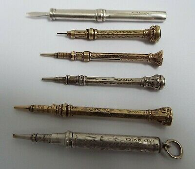 NICE COLLECTION OF 6 ENGLISH ANTIQUE c1890 STERLING SILVER & ROLLED GOLD PENCILS