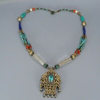 Chinese Exquisite Handmade turquoise copper necklace