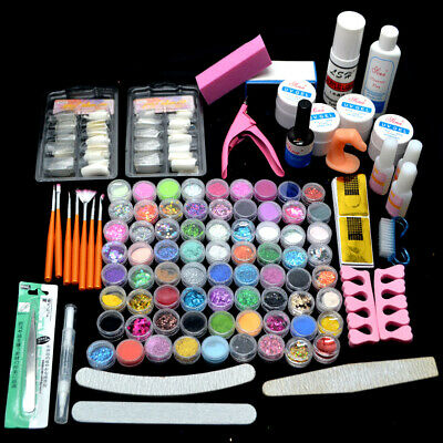 72 Acrylic Powders Nail Art Set Acrylic Liquid Tips Brush Glue Dust Kits UK Xmas