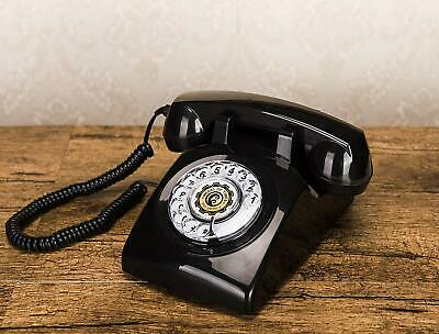 Retro Black Phone Rotary Dial Vintage Telephone Corded Classic Landline Gifts