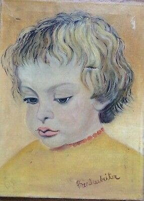 Portrait Thoughtful Boy with Blond Hair Signed um 1950 Damaged