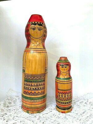 Set of 2 vintage wooden figurine folk art Hand painted Hand carved doll Russian