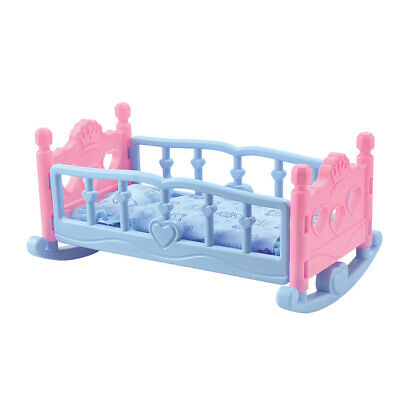 Pink Blue Dolls Rocking Cradle Crib Cot Bed Girls Toy with Blanket & Pillow