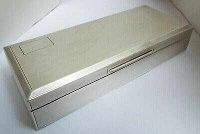 Handsome Large Sized Heavy English Antique 1938 Sterling Silver Cigarette Box
