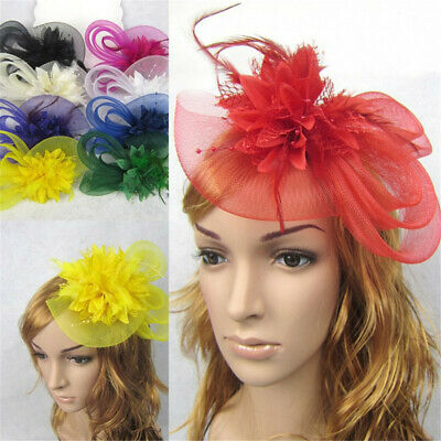 Feather Fascinator Wedding Hat Festival Headwear Bridal Headband Hair Clip