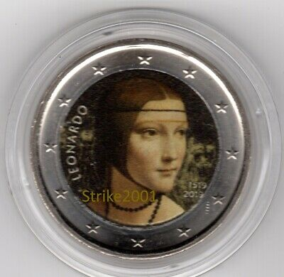 NEW !!! 2 EURO COMMEMORATIVO ITALIA 2019 500° morte Leonardo Da Vinci COLORATO