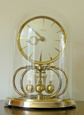 Vintage Brass Kundo Anniversary Clock & Glass Dome - Made In W. Germany