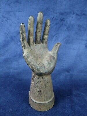 Early Antique Primitive Cast Iron HAND Form MOLD Jewelry Display