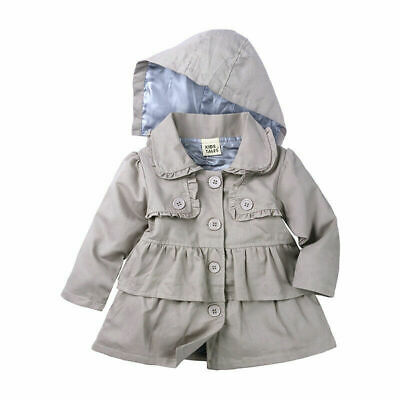 Toddler Kids Baby Girls Fashion Trench Hooded Coat Button Cute Outerwear Jacket
