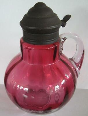 "1880's Victorian Hobbs Bruckunier Rubina Optic Cranberry 6.25"" Glass Syrup Jug"