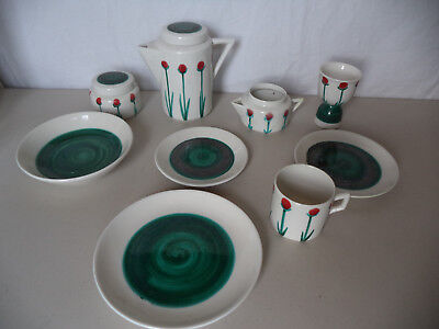 MidCentury Modern MCM Deco Italy Abstract Floral Geometric Breakfast Tea Pot Set
