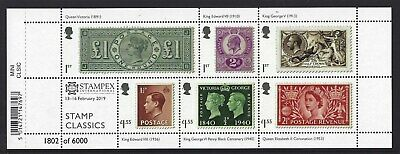 GREAT BRITAIN 2019 STAMP CLASSICS STAMPEX OVERPRINT No. 1802 MINIATURE SHEET,UM