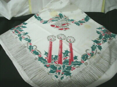 Tablecloth--Christmas Print--Candles & Bells--- 1950-60's-- Vintage