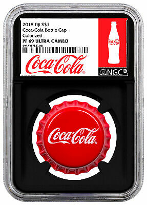 2018 Fiji Coca-Cola Bottle Cap-Shaped 6 g Silver NGC PF69 Black Core SKU54042