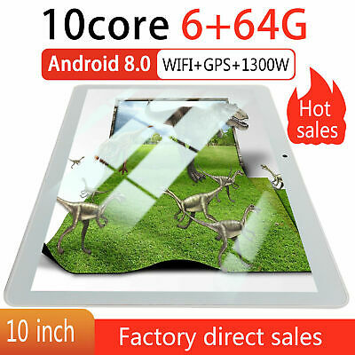10.1 Inch Tablet Android 8.0 6GB + 64G Ten 10-Core Dual SIM & Camera 3G Wifi PC