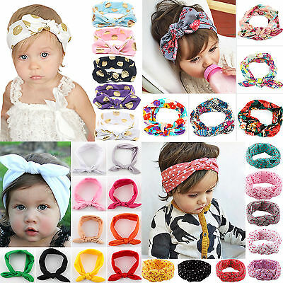 Baby Girls Soft Headband Turban Bow Knot Polka Dot Headwear Ribbon Hairband Kids