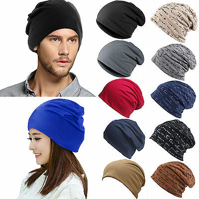 Solid Men Women Casual Beanie Hats Flap Slouchy Baggy Caps Ski Hip Hop Headgear
