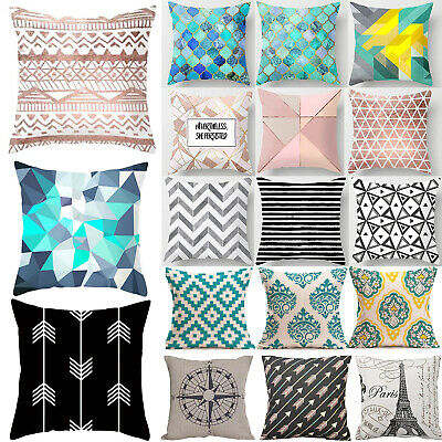 Vintage Geometric Cotton Linen Cushion Cover Sofa Waist Throw Bedroom Sofa Decor