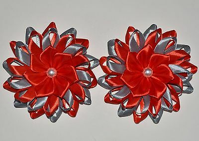 Kanzashi Pair of Handmade SCHOOL Gingham Red Flower Hairbands//Bobbles or Clips