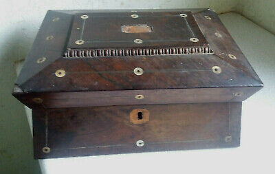 Antique Wooden Mother Pearl  Stationery / Jewellery Box / Casket -Needs Work