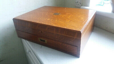 Large Antique Heavy Wooden Empty Cutlery Box- Restoration Project- 20 X 16 X 6 1