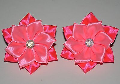 Pair of Handmade Girl's/Baby Pink Flower Hair Bobbles/Bows/Clips, Kanzashi