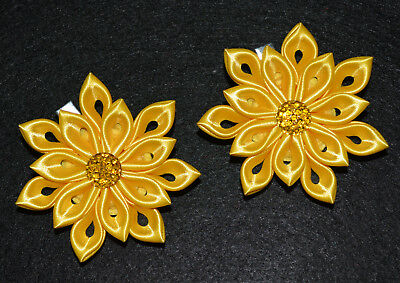 Pair of Handmade Girl's/Baby Yellow Flower Hair Clips, Kanzashi,School/Party