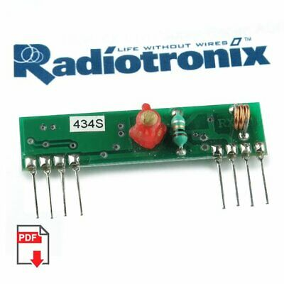 433MH Super Regenertative Receiver, 5VDC @4.5mA, Reception 3MHz RADIOTRONIX NEW