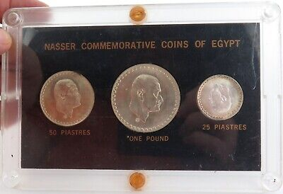 .1970 Nasser Commemorative Coins Of Egypt 72% Silver. 1 Pound, 25 & 50 Piastres.