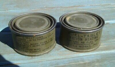 2 Cans WW2 Original US Military Army Fuel Tablet Ration Heating Metal Tin Can