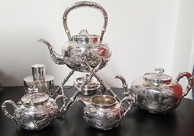 .Important Chinese Export Sterling Silver Five Piece Tea Set By Wang Hing 2522 g