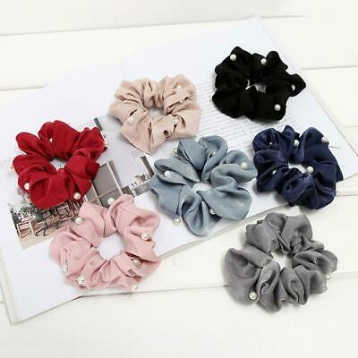 Pearl Cute Hairbands Hair Scrunchie Ponytail Satin Hair Ties Rope for Women