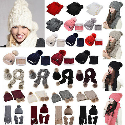 Womens Pom Pom Hat Thick Warm Cable Knitted Scarves + Gloves + Beanie Hats Set